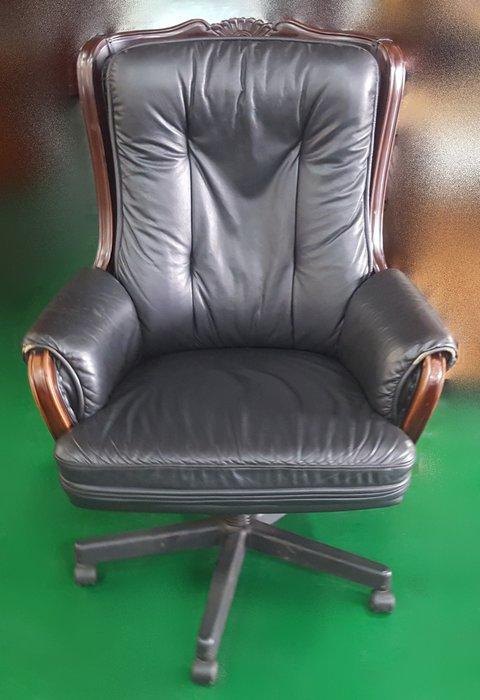【宏品二手傢俱館】中古辦公家具 F40903*實木皮面辦公椅* 電腦椅/書桌椅/洽談椅/會議椅/隔間屏風 二手家具大拍賣