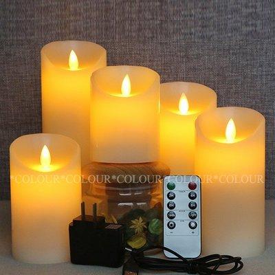 LED 10CM*直徑7.5CM 仿真電子蠟燭 流蠟充電遙控款 火苗搖擺晃動/無煙無汙染※ COLOUR歐洲生活家居 ※