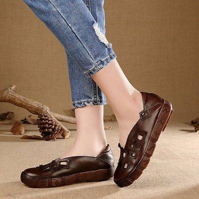 *姑涼家* 手工獨家原創頭層牛皮大碼圓頭民族風女鞋鏤空單鞋