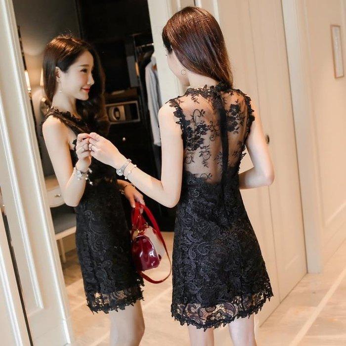 夜店女裝夏洋裝新款露背無袖蕾絲連衣裙中長款修身性感冷淡風裙子