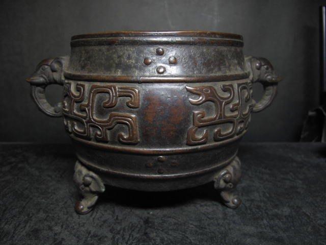 老銅爐 ◎ 太平有象 鼓式 象足銅香爐 【乾清宮寶 款】