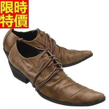 尖頭鞋 真皮皮鞋-英倫時尚商務繫帶增高男鞋子3色65ai19[獨家進口][米蘭精品]