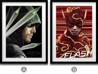 ABOUT。R 創意簡約DC美劇綠箭俠奧利弗閃電俠巴里海報裝飾畫現代掛畫(兩款可選)