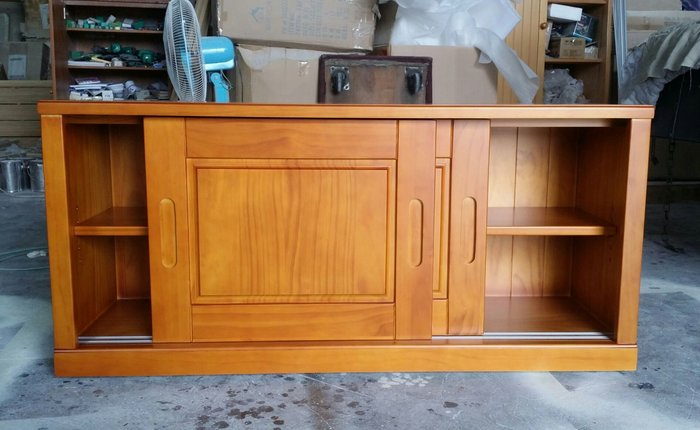 美生活館 全新鄉村家具訂製 紐松原木 雙推門 柚木色 收納櫃 坐櫃 置物櫃 也可修改尺寸與顏色