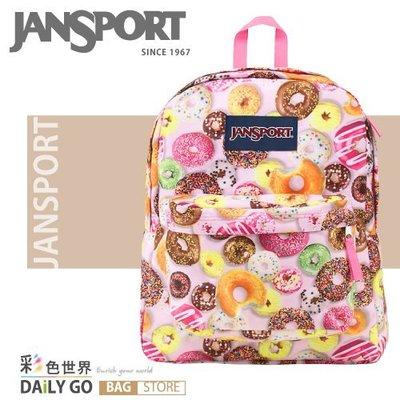 JANSPORT後背包包大容量防潑水書包彩色世界JS-43501-09Y多拿滋