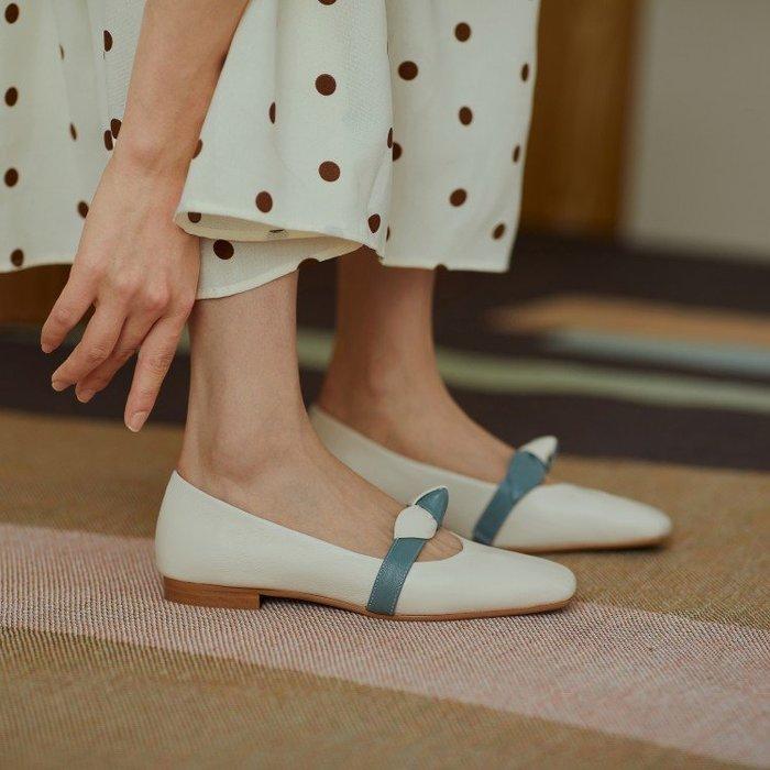 『Alice❤愛麗絲』春款平跟真皮蝴蝶結軟皮淺口百搭方頭小皮鞋女低跟