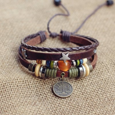 韓版手鍊風鉚釘星座情侶手繩手環