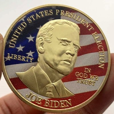 尚古2020美國總統大選拜登鍍金紀念章 彩繪金幣硬幣風云人物紀念幣