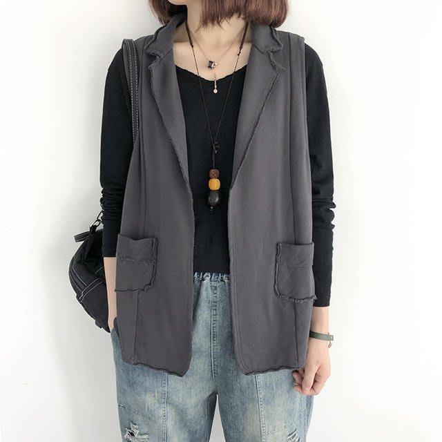 【C4052】2A23韓。西裝領罩衫口袋背心4色F.預購。小野千尋