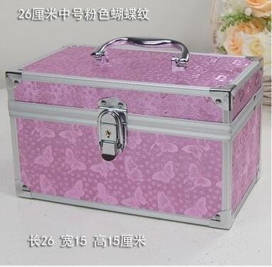 【優上】大中小號帶鎖化妝箱美甲紋繡足療工具箱26CM粉色蝴蝶