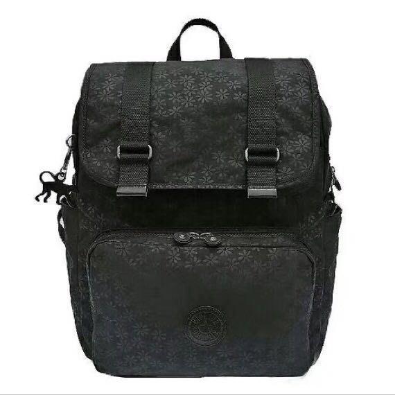 現貨 Kipling 猴子包 黑底小花 K00935  多用拉鍊輕量雙肩後背包 旅行 電腦包 防水 限時優惠 大號