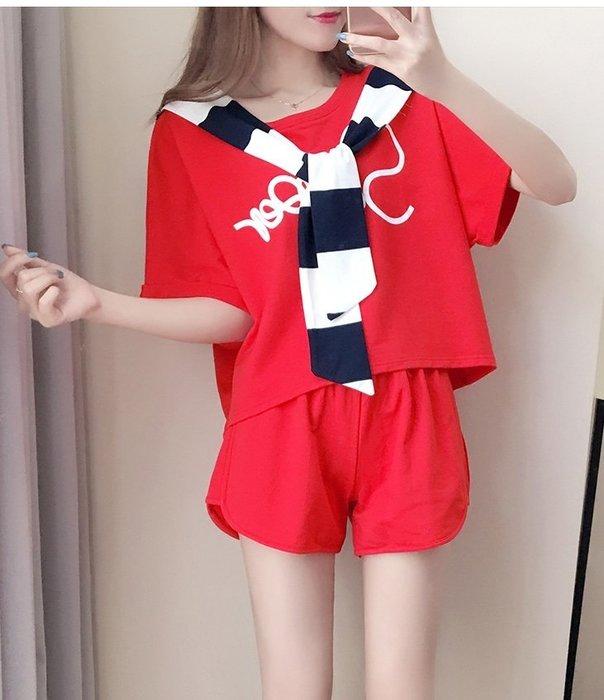 GOGO SHOP☆╭2017韓國夏季新品 寬鬆休閒套裝 學生運動服三件式【Y1478】S~XL短袖上衣+短褲(送披肩)