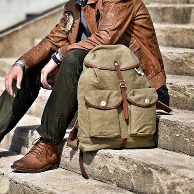 ~皮皮創~原創設計手作包。植鞣牛皮配帆布雙肩後背包Vintage古著風復刻二戰傘兵包大容量機車包後背包