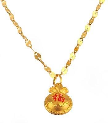 【JHT 金宏總珠寶/GIA鑽石】1.03錢福袋黃金項鍊