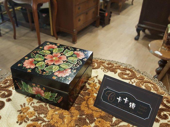 【卡卡頌 歐洲跳蚤市場/歐洲古董】歐洲老件_手繪花卉 老木盒 小物收納 首飾盒 w0162✬