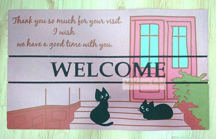 點點蘑菇屋 日式鄉村風室外腳踏墊-粉紅色門口的小黑貓咪 日本雜貨 歡迎光臨 Welcome 地墊 日雜 現貨