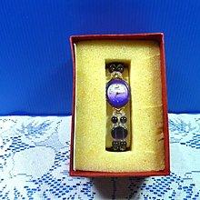 【水晶錶】全新絕版 鱷魚錶 (橢圓紫框紫面)水晶錶帶手圍可調整 附盒 尺寸:9*3.5*2.5㎝ 重量:90g