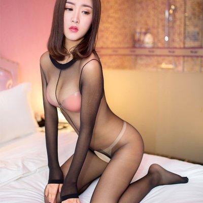 MIX style SHOP【S-451】獨特性感❤女款高領長袖式開襠連身透膚絲襪內衣