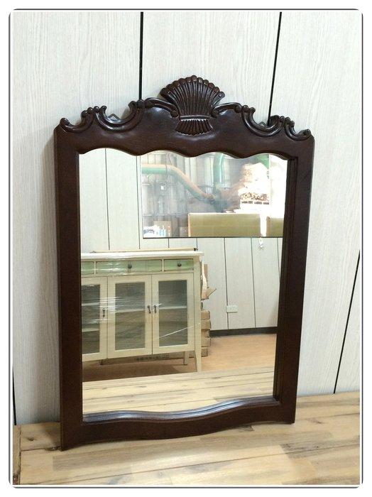 木製貝花玄關鏡子 歐式古典風系列 紅木色壁鏡方型鏡公主鏡化妝鏡魔鏡穿衣鏡連身鏡造型藝術掛鏡服飾店布置【【歐舍家飾】】