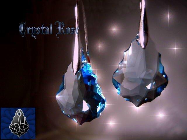 ※水晶玫瑰※ SWAROVSKI 大巴洛克葉水晶吊墜 鍍白金耳勾式耳環(DD041)~9色可選