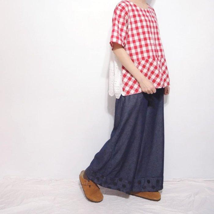 。error dot。日本拼接鏤空繡花格紋上衣