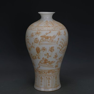 ㊣姥姥的寶藏㊣ 大明永樂甜白瓷鴛鴦戲水薄胎梅瓶  官窯出土古瓷器古玩古董收藏品