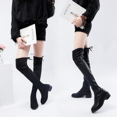 網紅靴秋季瘦瘦靴女2018新款冬季加棉ins馬丁靴女長靴長筒過膝靴