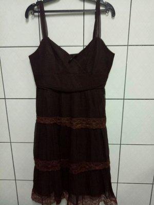 (愛莎&嵐) 美系品牌 BCBG MAXAZRIA 細肩帶低胸咖啡色洋裝/4 1070911