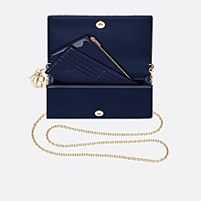Lady Dior Clutch In Blue Calfskin [2018 Winter Wallet On Chain] [20% Off]