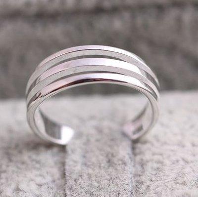 925純銀 戒指 飾品 亮面  簡約 三層 三環  活動可調 食指戒 尾戒 開口 可微調 純銀防過敏 韓款