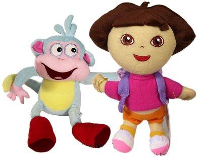 【卡漫迷】 Dora & Boots 玩偶 二入組 30公分 絨毛 娃娃 布偶 朵拉 小猴子 女孩 卡通 愛探險 好朋友