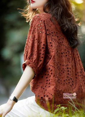 精美刺繡燈籠袖蕾絲襯衫-M~2XL萌蔓物語【KX3814】韓氣質女上衣
