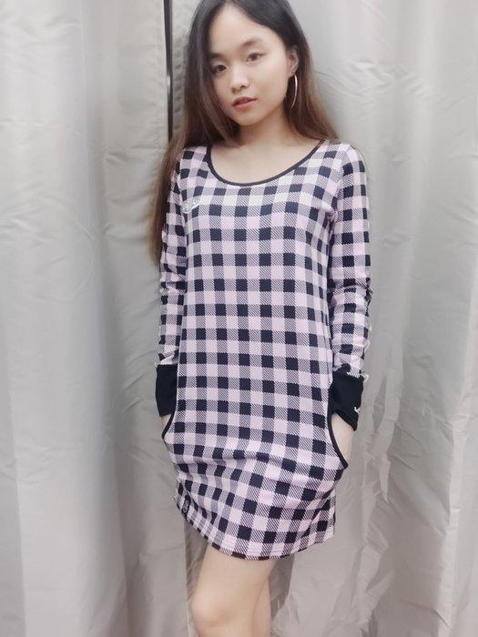 (嘻哈姐弟)STAYREAL 五月天 潮牌  格紋長袖連身裙  S號  二側口袋  9.5成新  100%正品