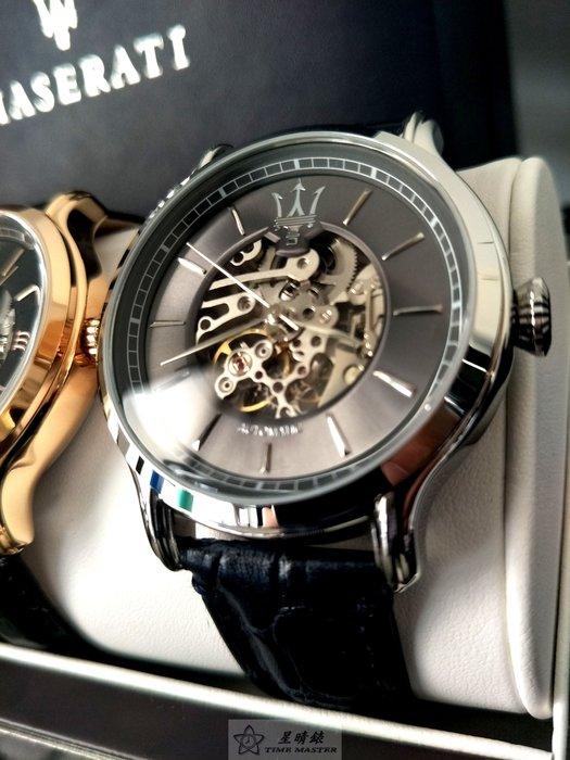 瑪莎拉蒂手錶MASERATI手錶EPOCA款,編號:MA00222,黑色錶面黑色皮革錶帶款