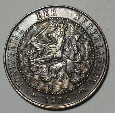 『紫雲軒』(各國外幣) UNC  荷蘭1906年2-1/2分  (2.5分)  美品 銅幣 Hhwb0141