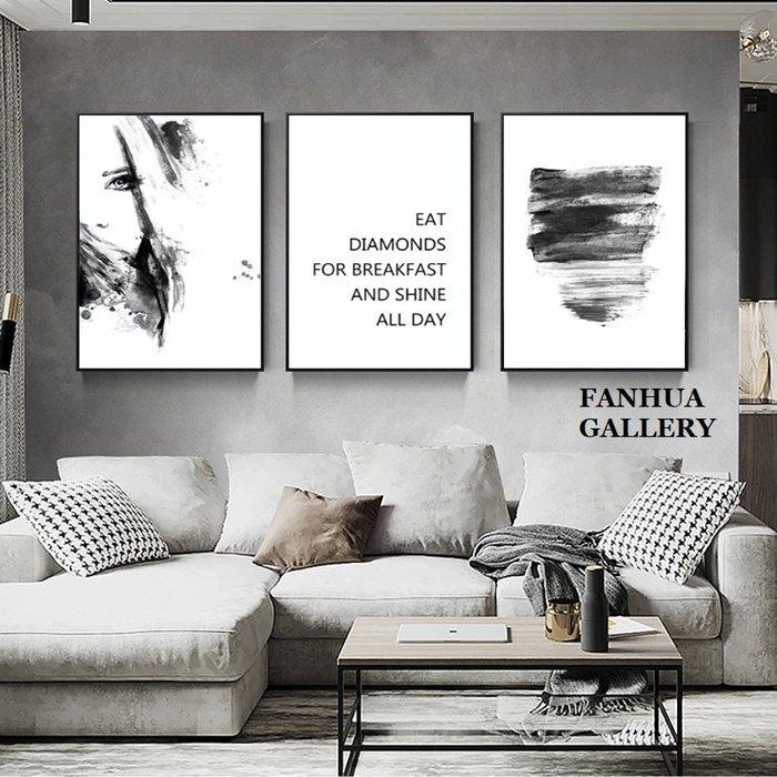 C - R - A - Z - Y - T - O - W - N 黑白藝術人物英文掛畫沙發背景牆三聯畫客廳店面時尚裝飾畫簡約北歐抽象壁畫樣品屋極簡風格裝飾畫