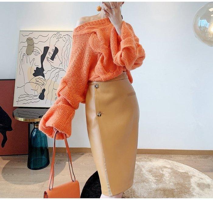 法.式.小.眾 巴黎小時光: 高腰真皮鉛筆裙 直筒裙 包臀羊皮裙~免運~本店有開立發票