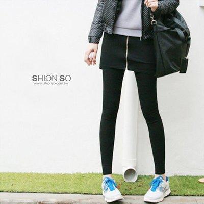 享瘦衣身中大尺碼【B2034】假兩件式短裙拼接拉鍊設計內搭褲
