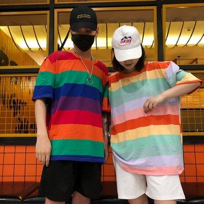 超火韓國夏季半袖情侶裝原宿寬松百彩虹條紋短袖T恤女學生潮