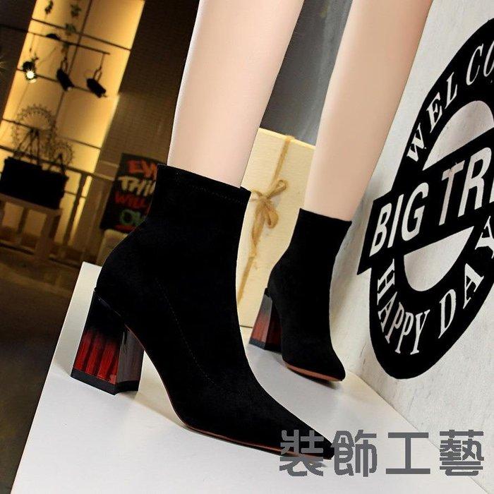 1718-2時尚拼色木紋跟粗跟女靴高跟絨面尖頭性感夜店顯瘦短靴