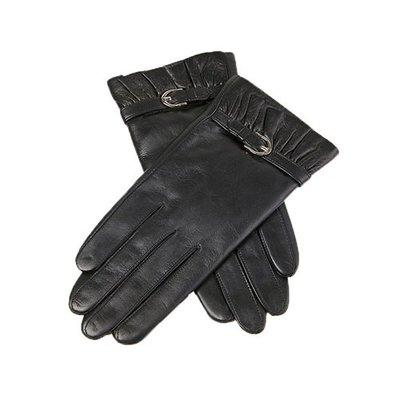 觸控手套 真皮手套-山羊皮薄款搭扣黑色女手套73wm49[獨家進口][米蘭精品]