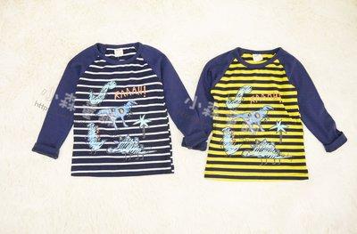 小森童舖 男童 可愛百搭款 日系 拼接感 手繪恐龍 棉質長袖上衣t恤 藍 黃 5.7.9.11.13.15號