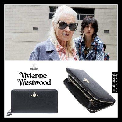 ♔MissyJ英國代購♥ Vivienne Westwood 英倫龐克教母品牌黑色土星飾霧面義大利牛皮革真皮夾拉鍊長夾