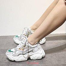 Freedom~女鞋2件7折 春季新款松糕鞋女厚底鞋子增高女鞋真皮透氣休閒運動鞋