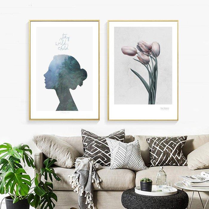 北歐客廳裝飾畫芯沙發牆壁畫現代簡約小清新ins風掛畫玫瑰花畫心(3款可選)