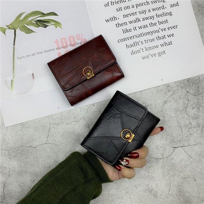 錢包 新款韓版錢包女短款簡約搭扣小錢夾歐美復古三折疊卡包零錢包