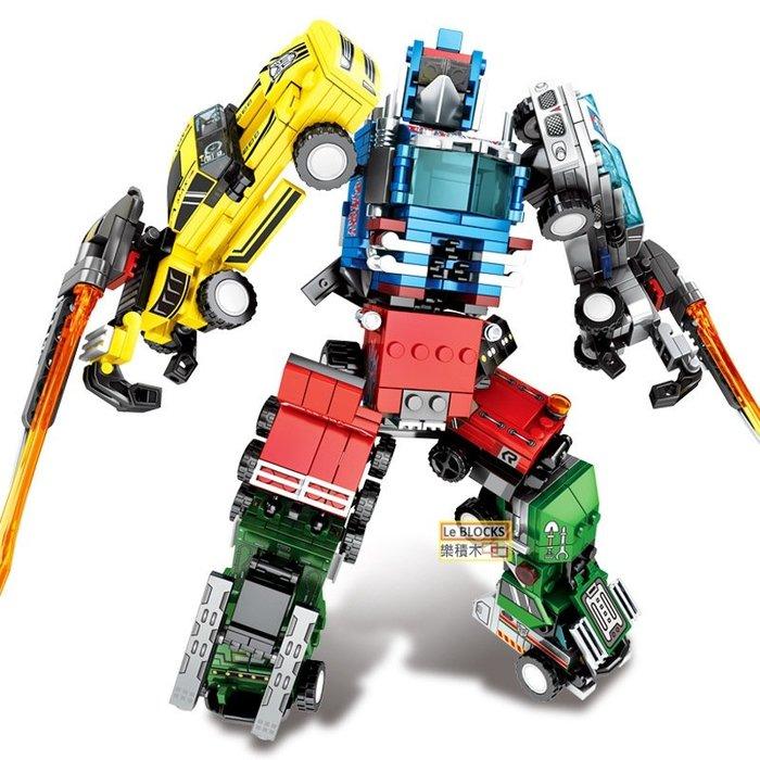 樂積木【當日出貨】森寶 S牌 鋼鐵機甲 四款一組 變形金鋼 柯博文 大黃蜂 機器人 非樂高LEGO相容 103225