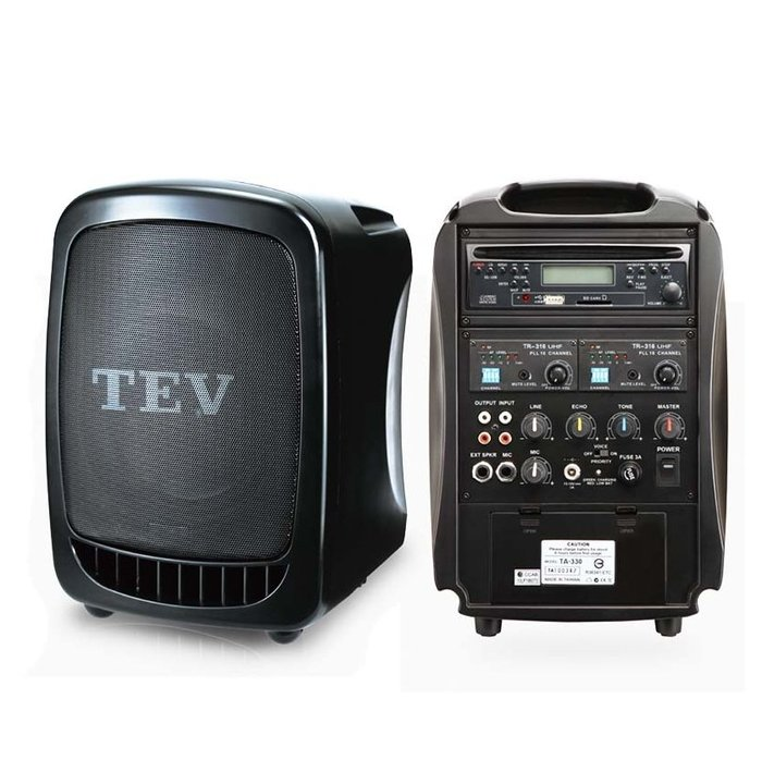 【昌明視聽】TEV TA-330 手提式無線擴音喇叭 60W 藍芽 USB CD 附一支32頻道選頻式手持式無線麥克風