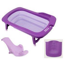 【魔法世界*現貨到貨】韓國 萱之愛 Mathos Loreley 強化折疊式浴盆+配件洗頭+沐浴架 紫色組合