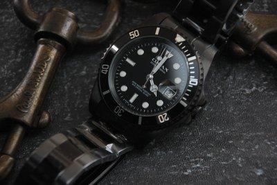 日本製石英機心OMAX歐美時尚勞利仕名款 黑水鬼 submarine造型全不鏽鋼製石英錶 MAN SIZE